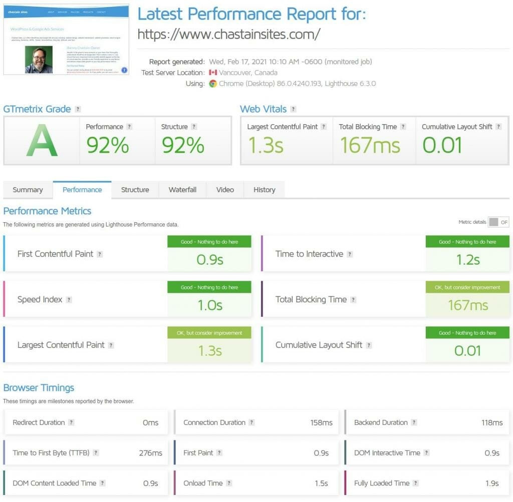 Screen Capture Of A Page Speed Report